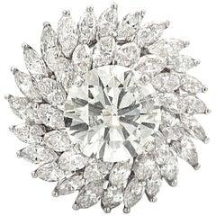 12.07 Carat White Diamonds Platinum Cocktail Ring