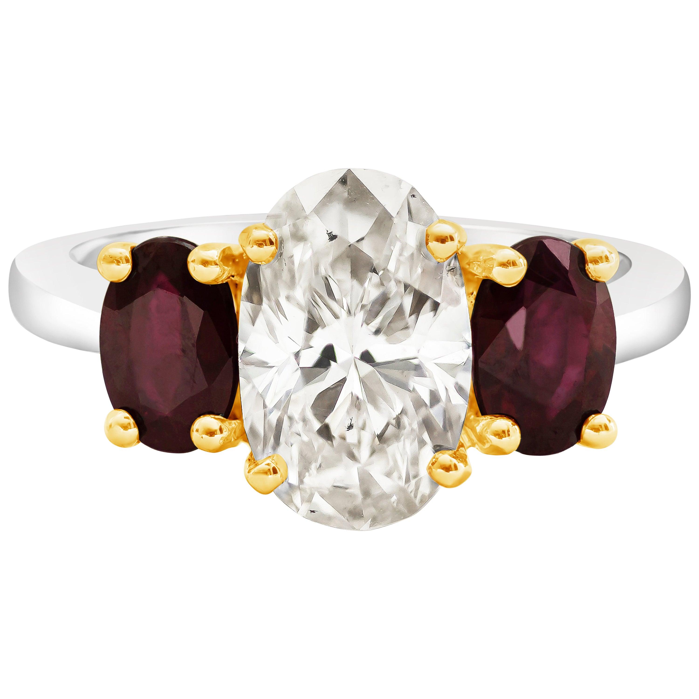 Roman Malakov, Oval Cut Diamond and Ruby Three-Stone Engagement Ring