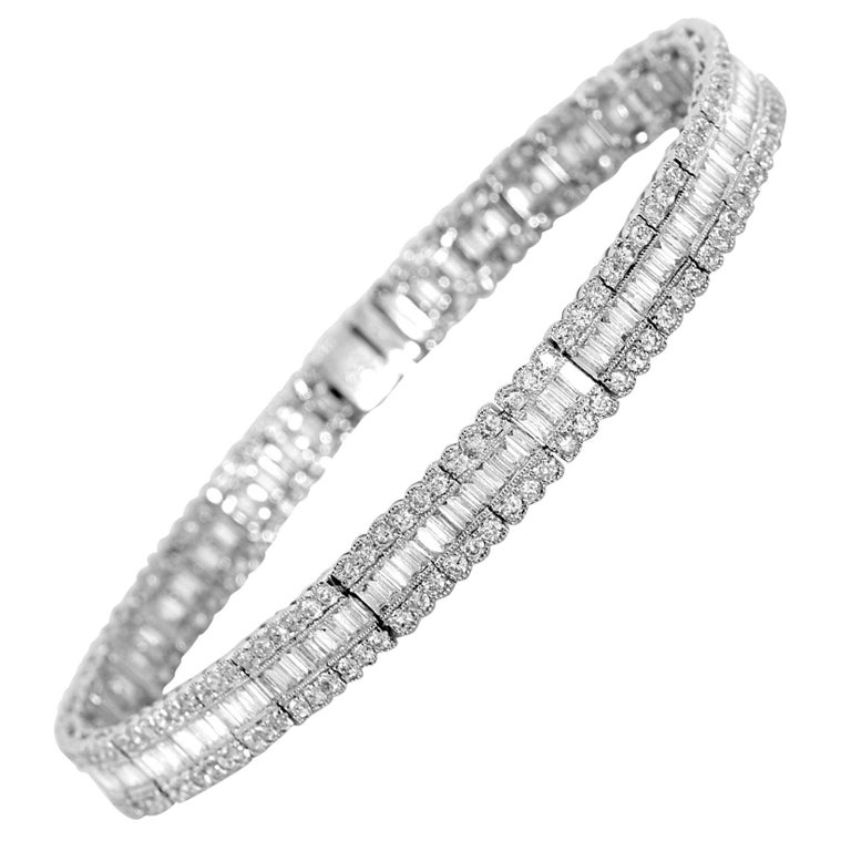 6.49 Carat Baguette Diamond Bracelet