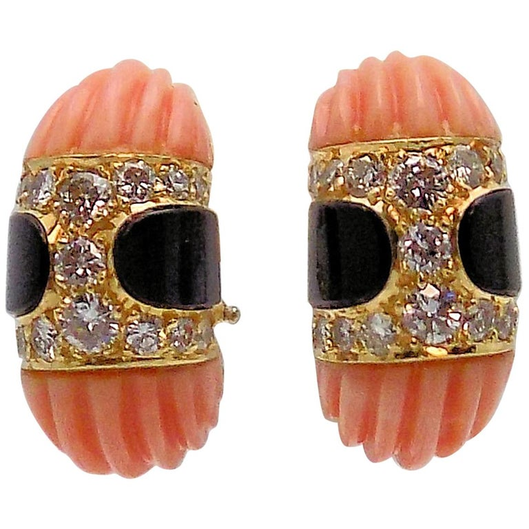 Carved Pink Coral, Black Onyx and Diamond Clip Earrings For Sale