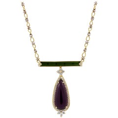 Stambolian Rubelite and Green Tourmaline Pendant Necklace with Gold and Diamonds