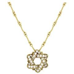 Stambolian Yellow Gold and Diamond Jewish Star of David Pendant Chain Necklace