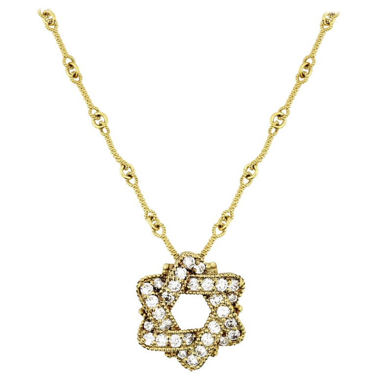 Stambolian Yellow Gold and Diamond Jewish Star of David Pendant Chain Necklace