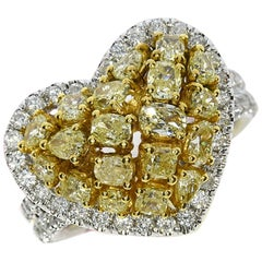 2.99 Carat Natural Fancy Yellow Diamond Heart Cluster Ring