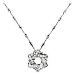 Stambolian White Gold and Diamond Jewish Star of David Pendant Chain Necklace