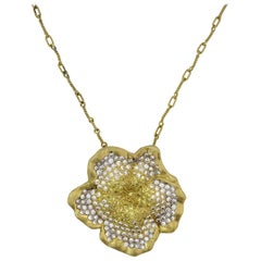 Stambolian Yellow and White Diamond Floral Pendant Chain Necklace