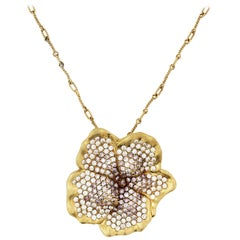 Stambolian Pink and White Diamond Floral Pendant Chain Necklace