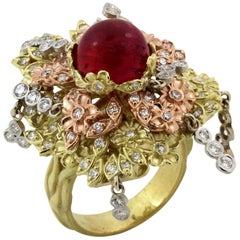 Stambolian Red Cat's Eye Tourmaline Tree of Life Pink White Yellow Gold Ring