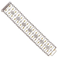 Stambolian White and Yellow Gold Diamond Wide Bracelet
