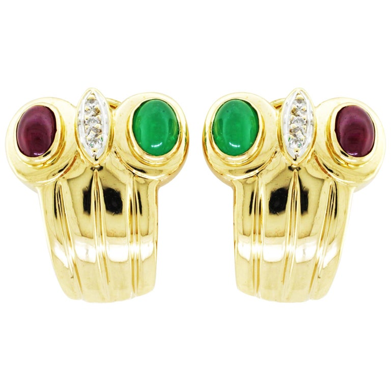 Yellow Gold Diamond Ruby Emerald Earclip Earrings 18 Karat Yellow Gold