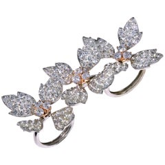 Stambolian White Diamond Floral Three-Finger Ring in White and Pink Gold