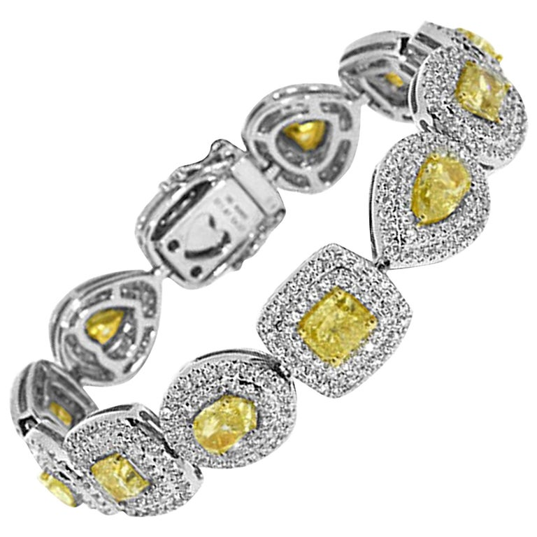 GIA Certified 15.94 Carat Natural Yellow Diamond Bracelet