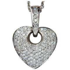 1.85CT Natural Diamond Modified Mod Dangle Heart Pendant Bead Set 18KT VS