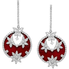 Enamel and Diamond White Gold Drop Earrings Stambolian