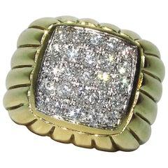 18 Karat 1.50 Carat Diamond Dome Ring A+ Mod Deco Detail