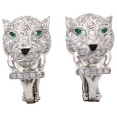 Cartier Diamond Panthere Earrings 18 Karat White Gold