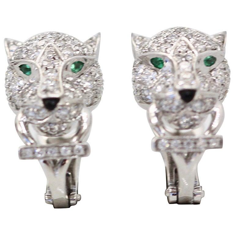 Cartier Diamond Panthere Earrings 18 Karat White Gold
