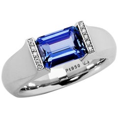 Steven Kretchmer Platinum SHO Ring with a Tension-Set Blue Sapphire