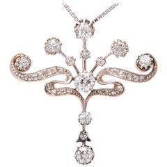 Antique Edwardian Diamond Platinum 18 Karat Gold Pendant