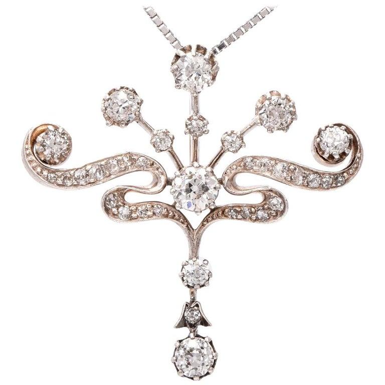 Antique Edwardian Diamond Platinum 18 Karat Gold Pendant