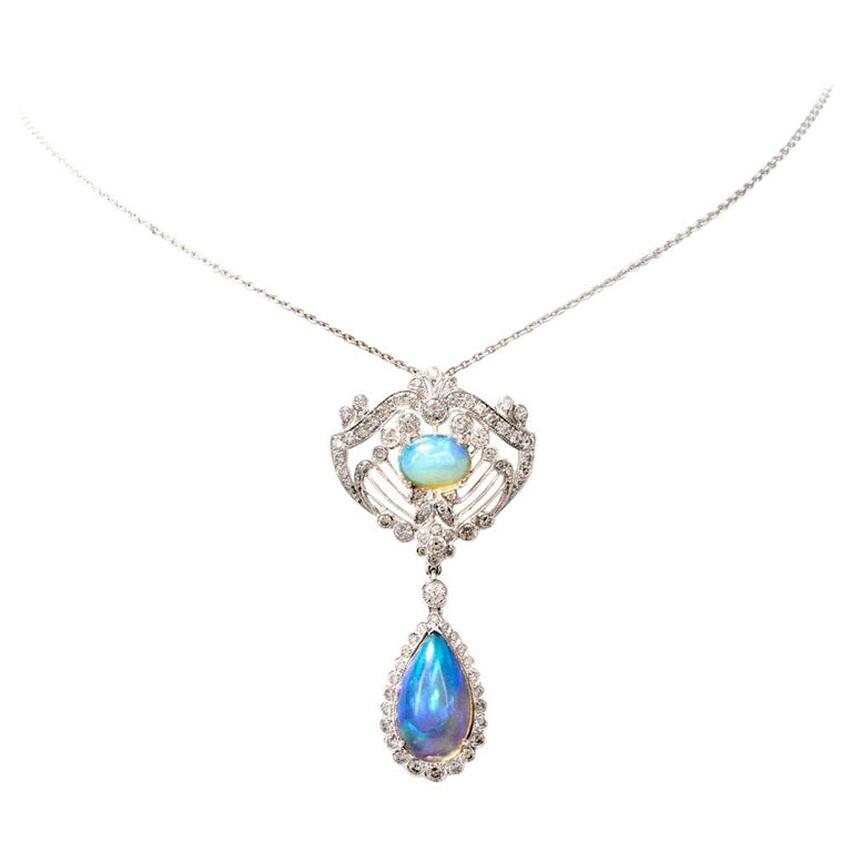 Opal Diamond Floral Openwork 18 Karat Gold Pendant Necklace