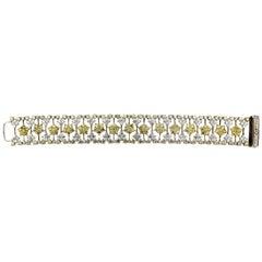 Stambolian Yellow and White Diamond Two-Tone Gold Bracelet