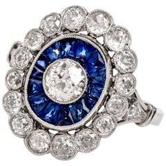 Vintage Old Mine Diamond Sapphire Platinum Cocktail Ring