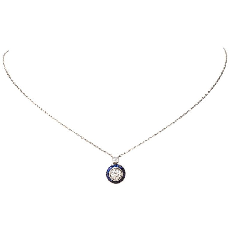 Circle Diamond Sapphire Pendant Platinum Chain Necklace