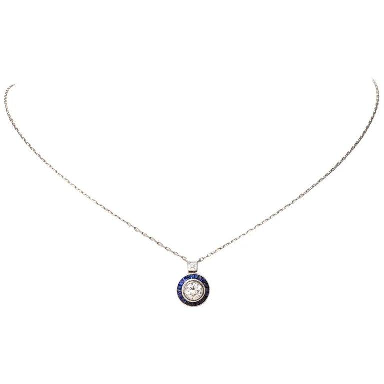 Circle Diamond Sapphire Pendant Platinum Chain Necklace