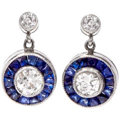 Art Deco Style Circle Diamond Sapphire Platinum Dangle Stud Earrings
