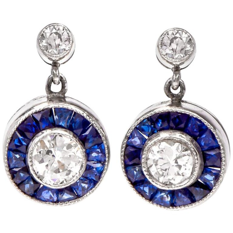 Art Deco Style Circle Diamond Sapphire Platinum Dangle Stud Earrings For Sale