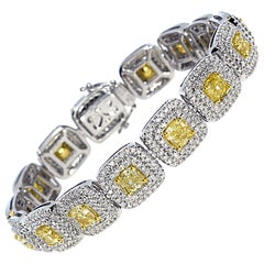 GIA Certified 15.40 Carat Natural Yellow Diamond Bracelet