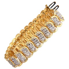 2.50 Carat Natural Diamonds Braid-Link Bracelet 14 Karat