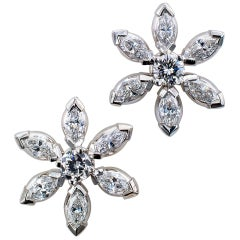 Diamond Floret Platinum Ear Studs