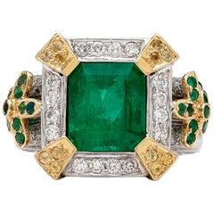 Custom 5 Carat Emerald and Diamond Ring