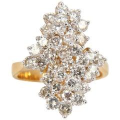 1.80 Carat Ladies Raised Double Peaked Cluster Cocktail Diamonds Ring 14 Karat