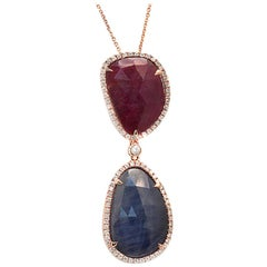 Sliced 14.97 Ct Blue Sapphire & Ruby 0.48 Ct Diamonds 14k Rose Gold Necklace
