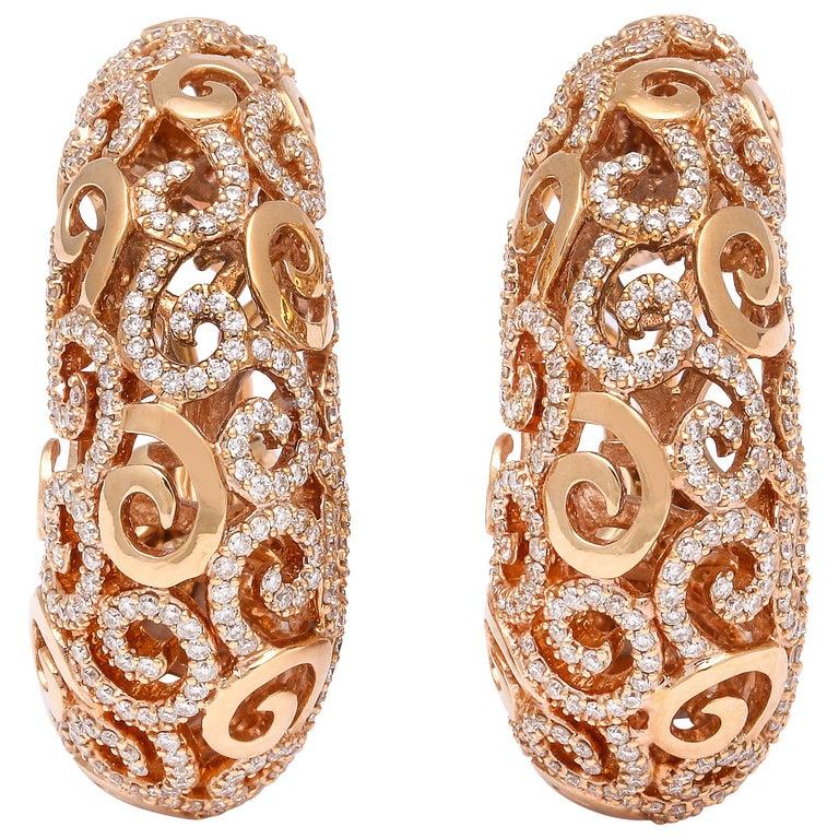Rose Gold and Diamond Domed Hoop Earrings