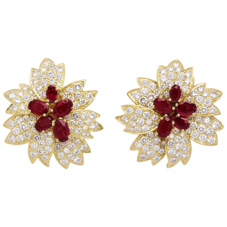 Yellow Gold, Oval Ruby and Diamond Flower Earrings