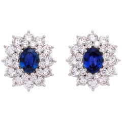 Sapphire and Diamond Platinum Earclip Earrings