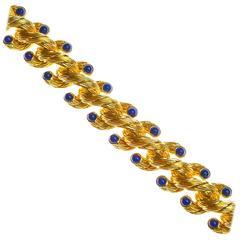 Weingrill Lapis Gold Link Bracelet