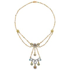 Multi-Color Semiprecious, Yellow Sapphire and Diamond Necklace