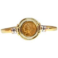 18 Karat Gold Two-Toned Slim Cuff Bracelet American Indian Head 1928 Coin