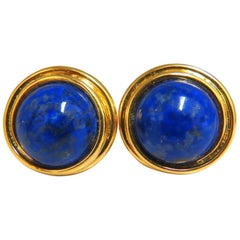 14 Karat Natural Lapis Lazuli Clip Earrings