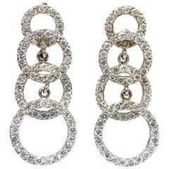 Beautiful 2.00 Carat Graduated 4 Circles Dangle Diamond Earrings G/VS 14 Karat