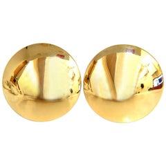 18 Karat Gold High Shine Domed Clip Earrings