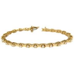 1.50 Carat Diamonds Deco Bone Link Bracelet 14 Karat Full Cut Brilliants