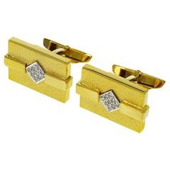 Aston Martin 0.18 Carat Diamond 18 Karat Yellow Gold Platinum Cufflinks