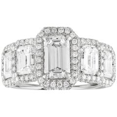 GIA Certified 3.59 Carat Five-Stone Emerald Cut Diamond Gold Ring