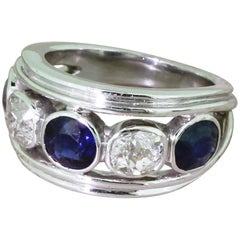 Art Deco Natural Sapphire and Old Cut Diamond Five-Stone Ring